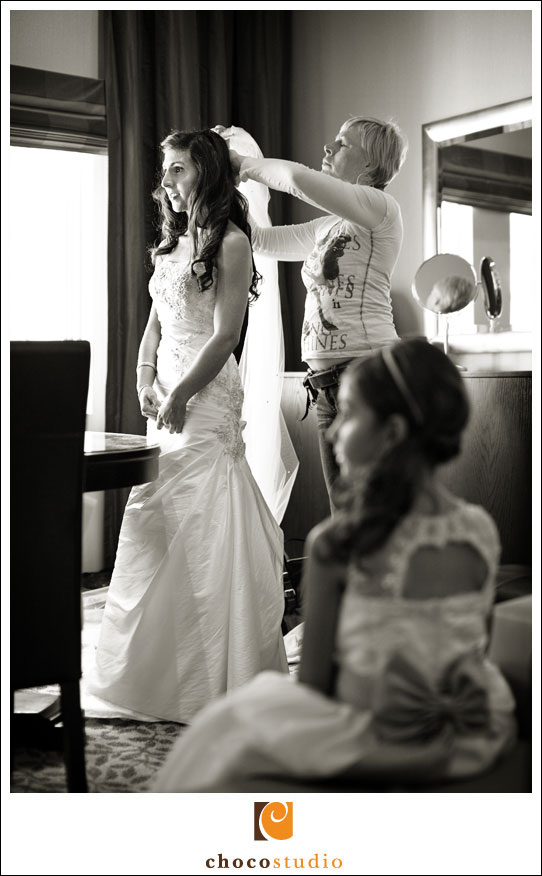 Bridal preparations in San Mateo Marriott