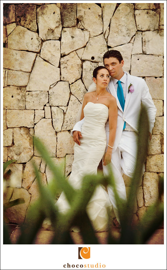 Bride and groom wedding photography at Barcelo Maya