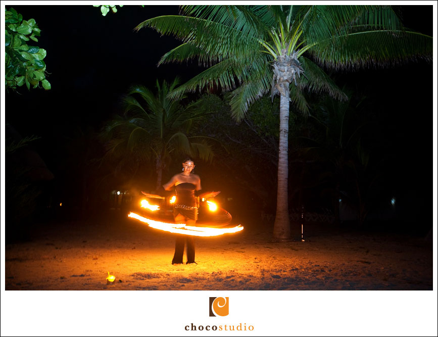 Fire dancers on the beach