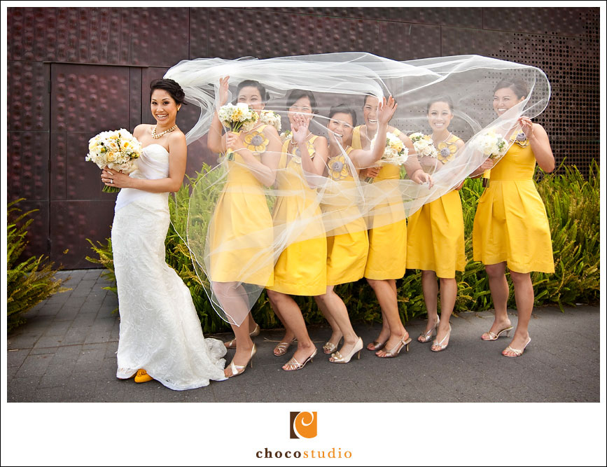Fun portrait of bridesmaids caught in the Veil