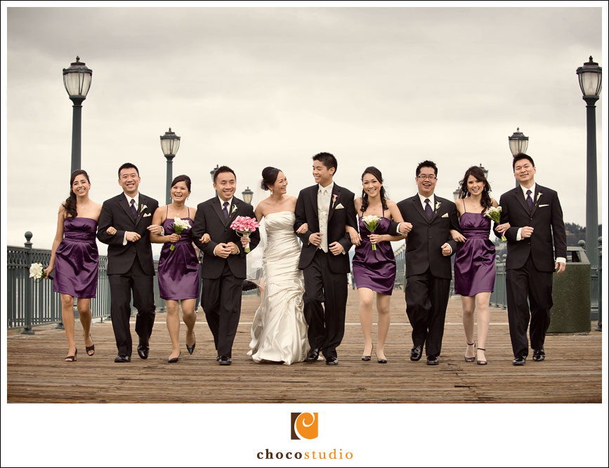 Bridal Party on Pier in San Francisco