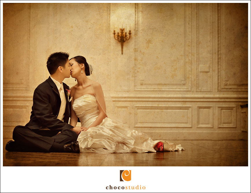 Bride and Groom Portrait at the Palace Hotel in San Francisco