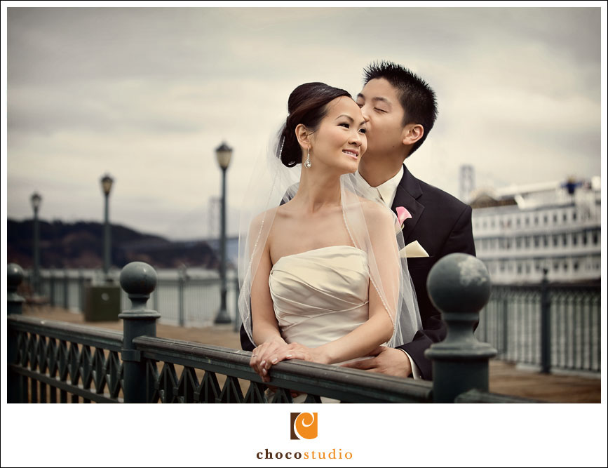 Bride and Groom at Pier in San Francisco