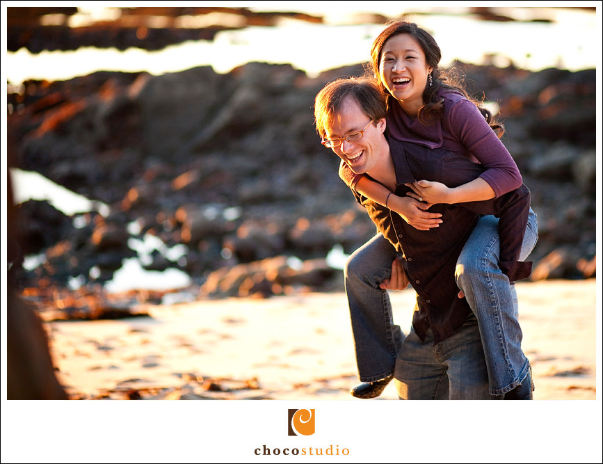 Engagement session on the beach in Moss Beach