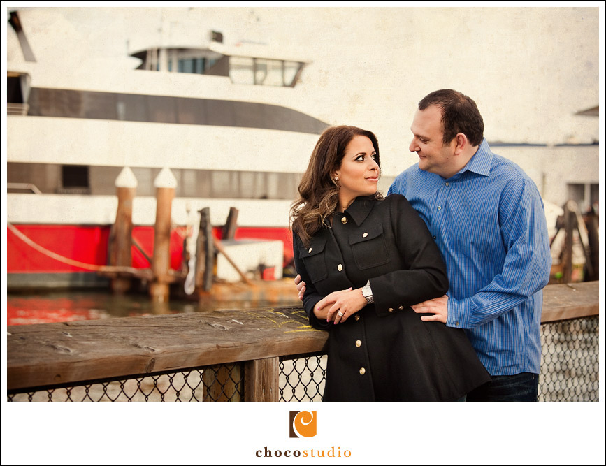 San Francisco Fisherman Wharf engagement portrait