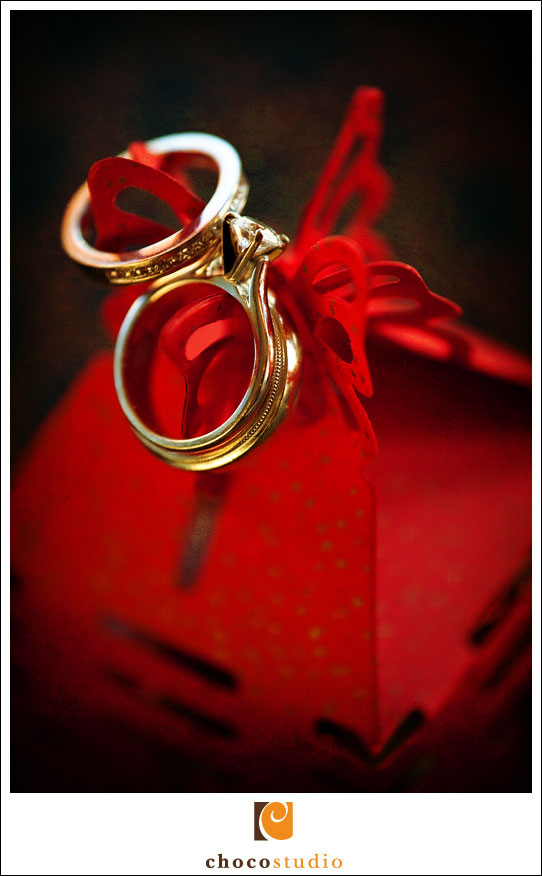 Wedding rings on a red box