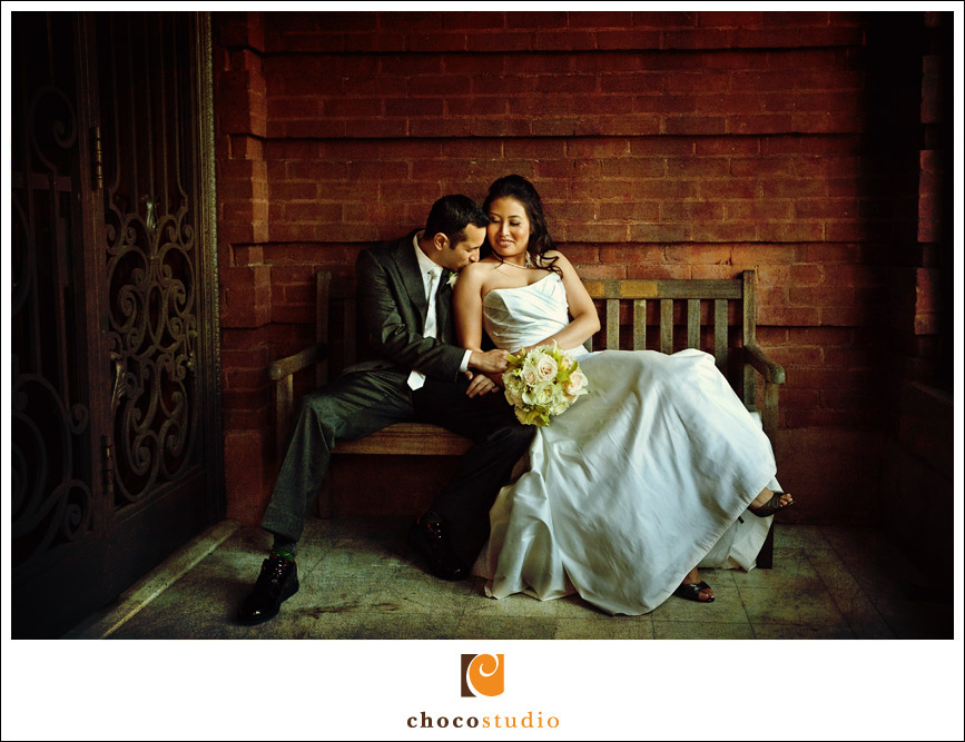 Wedding photograph of a couple in Flood Mansion