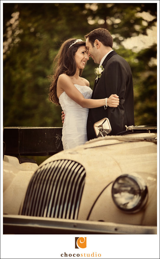 Classic car in wedding photograph