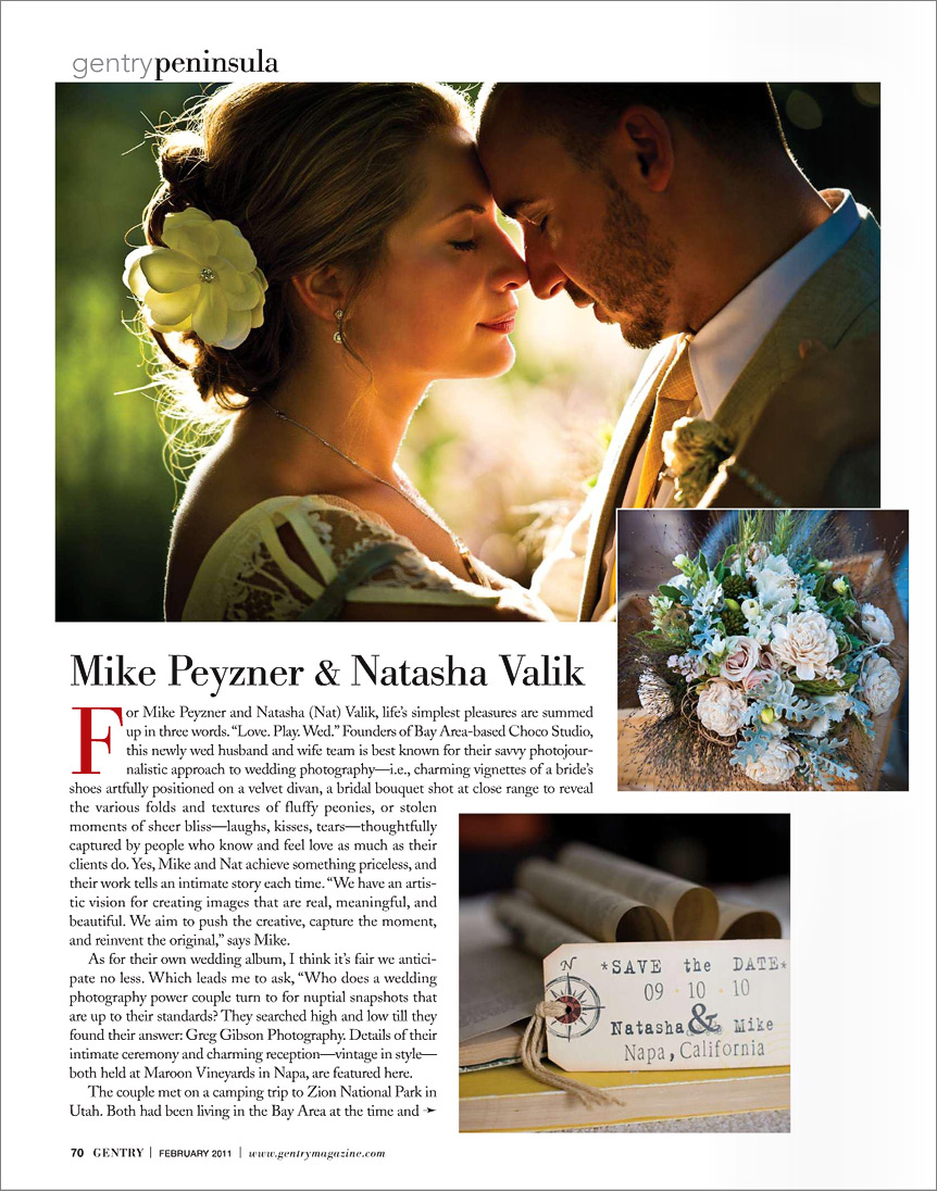 San Francisco wedding photographer featured in Gentry magazine