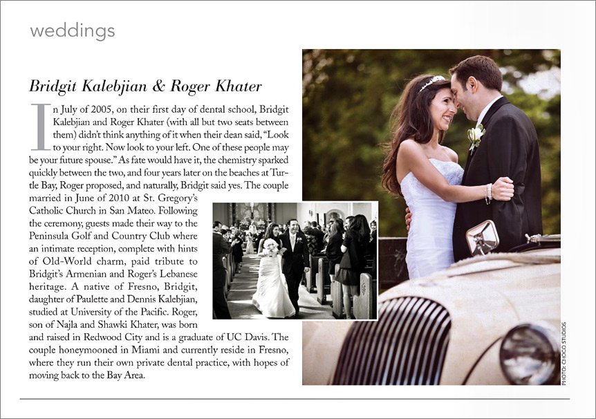 Peninsula wedding featured in Gentry magazine