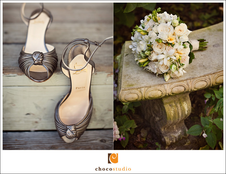 wedding shoes and flowers at Vine Hill House
