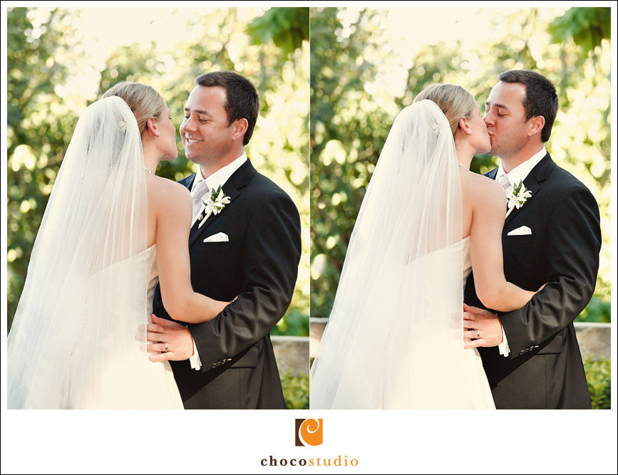 First kiss during a Vine Hill House wedding ceremony
