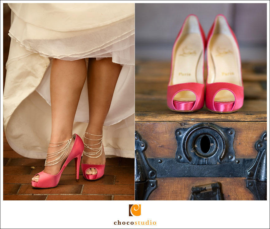 Pink Christian Louboutin shoes at wedding