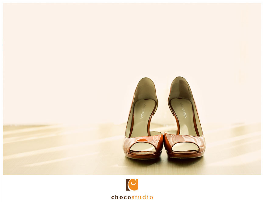 Red wedding shoes photograph