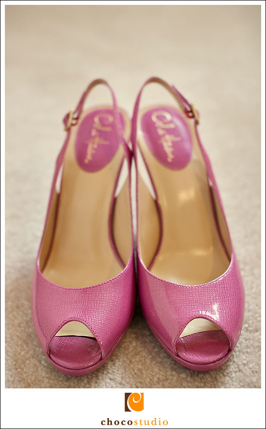 Pink wedding shoes picture