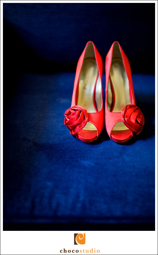 Gorgeous red wedding shoes