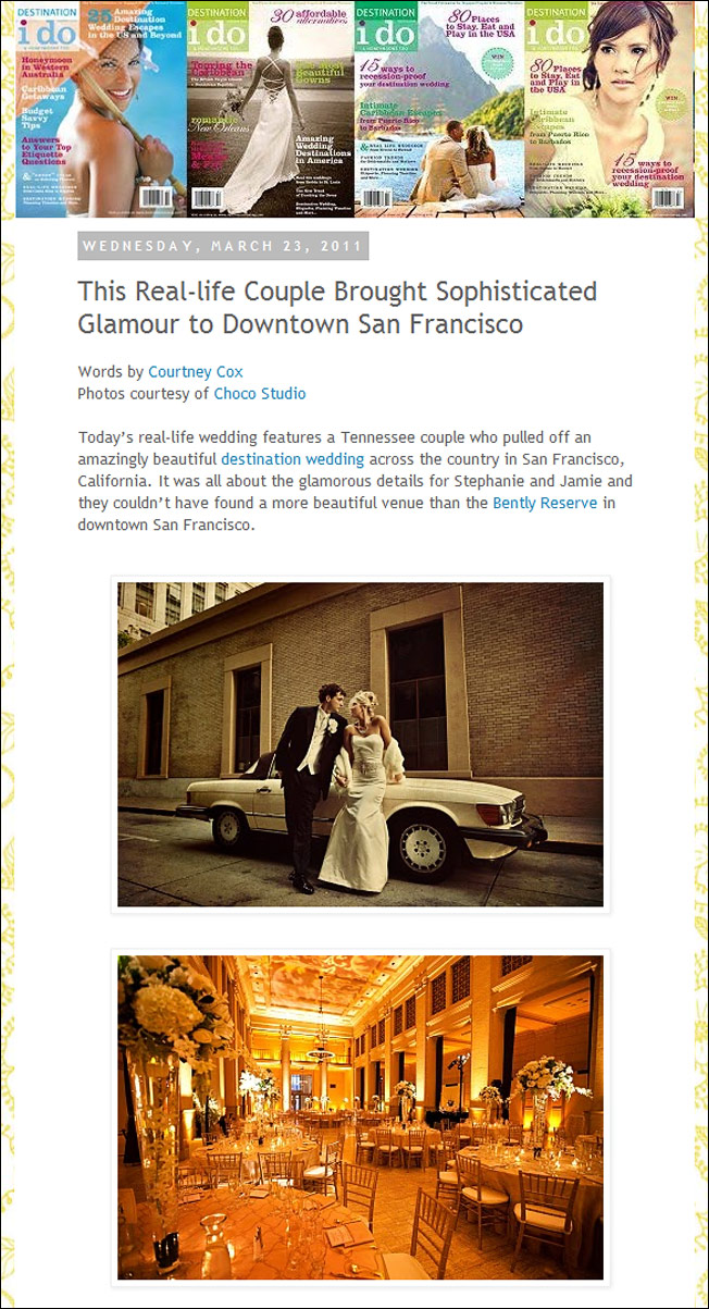 San Francisco wedding featured on Destination I Do blog