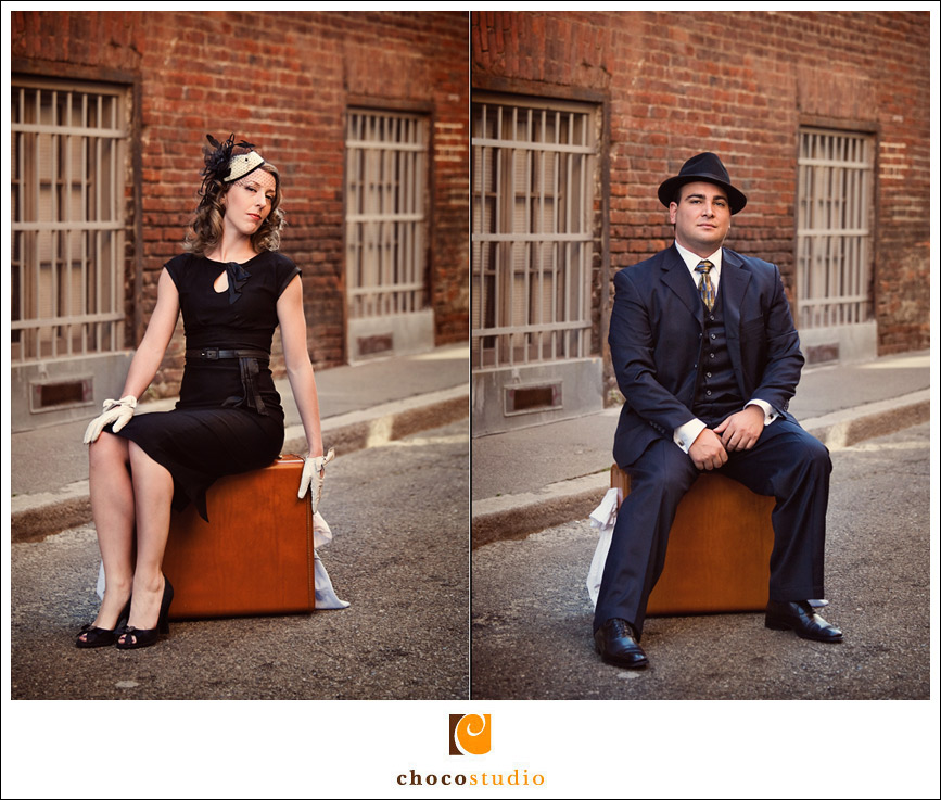 San Francisco vintage engagement session