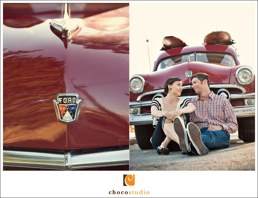 Engagement photo of a couple and vintage car