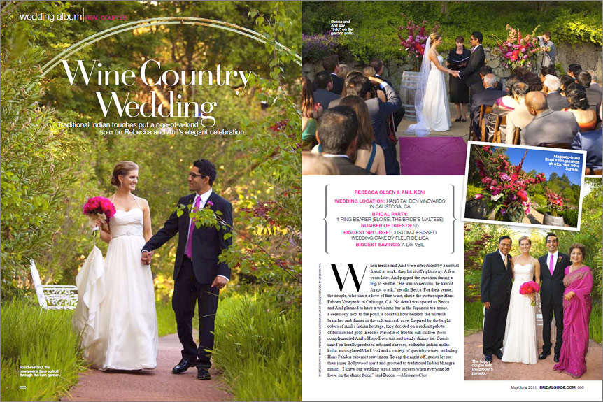 Hans Fahden wedding featured in Bridal Guide magazine