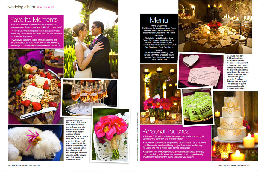 Calistoga wedding featured in a magazine