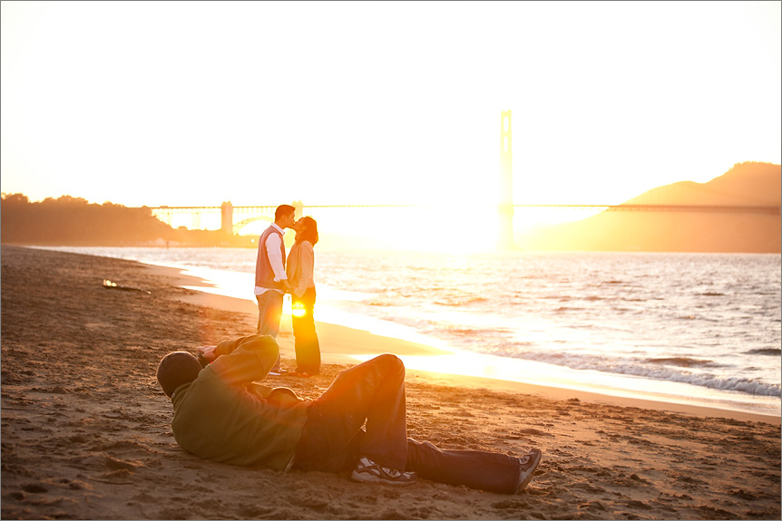 San Francisco wedding photographer taking pictures during Engagement Session