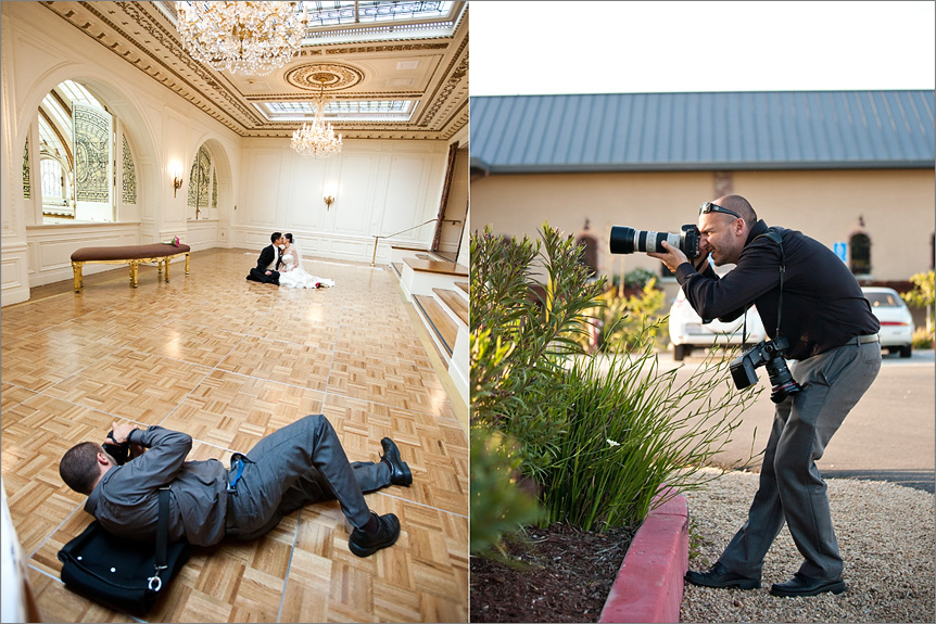 San Francisco wedding photographer taking pictures of bride and groom portraits