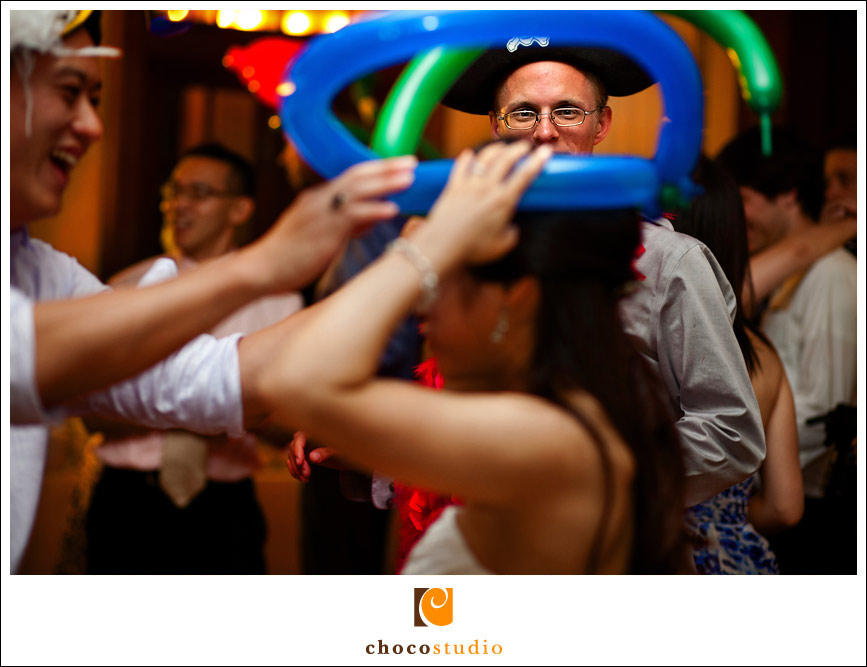 Wedding dancing with fun props at Ralston White Retreat