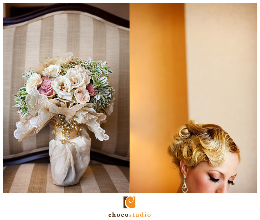 Bride getting ready in Fairmont Hotel San Jose
