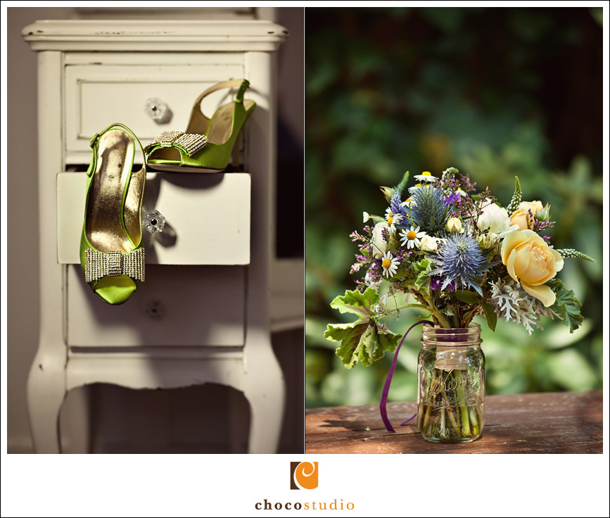 Wedding shoes and rustic bouquet at Dawn Ranch