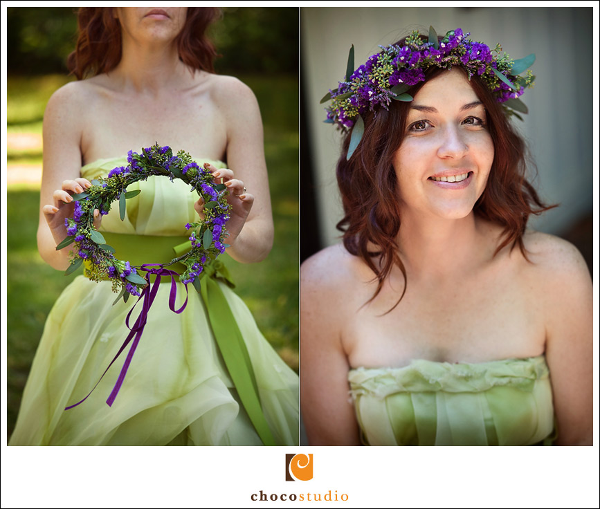 A purple and green floral wedding wreath