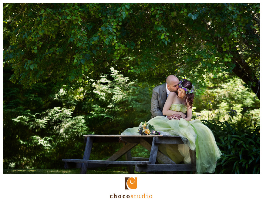 Bride and Groom portrait in the lush gardens of Dawn Ranch Lodge