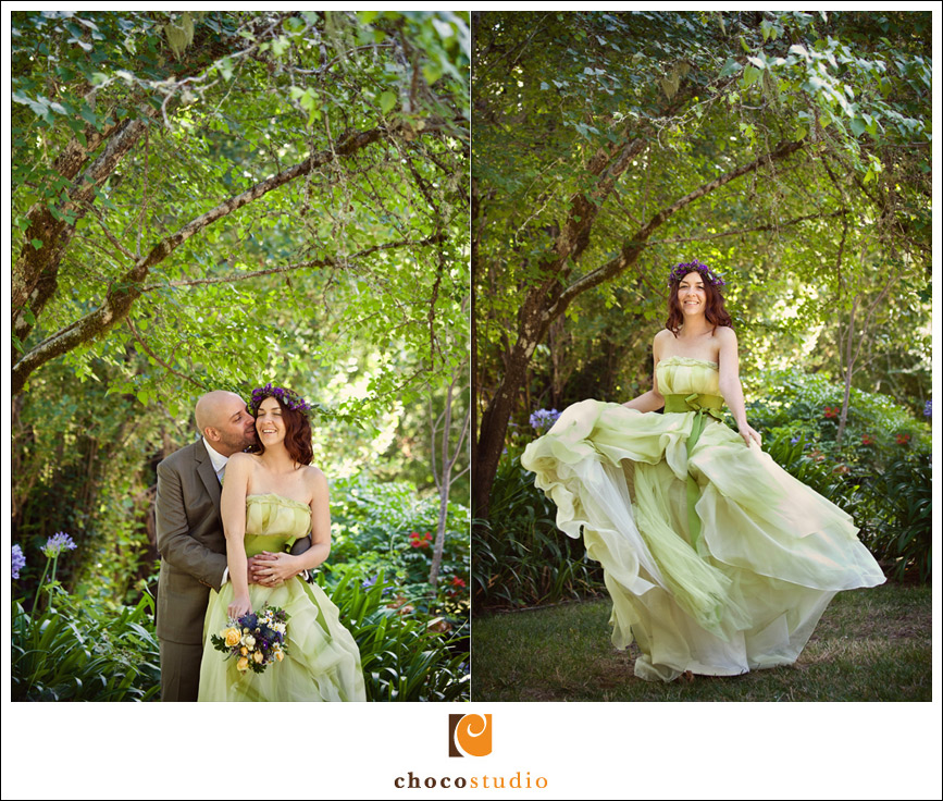 Bride and Groom portraits in the orchards at Guerneville