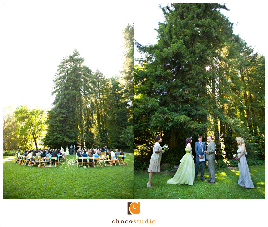 Outdoor ceremony on the lawn at the Dawn Ranch Lodge