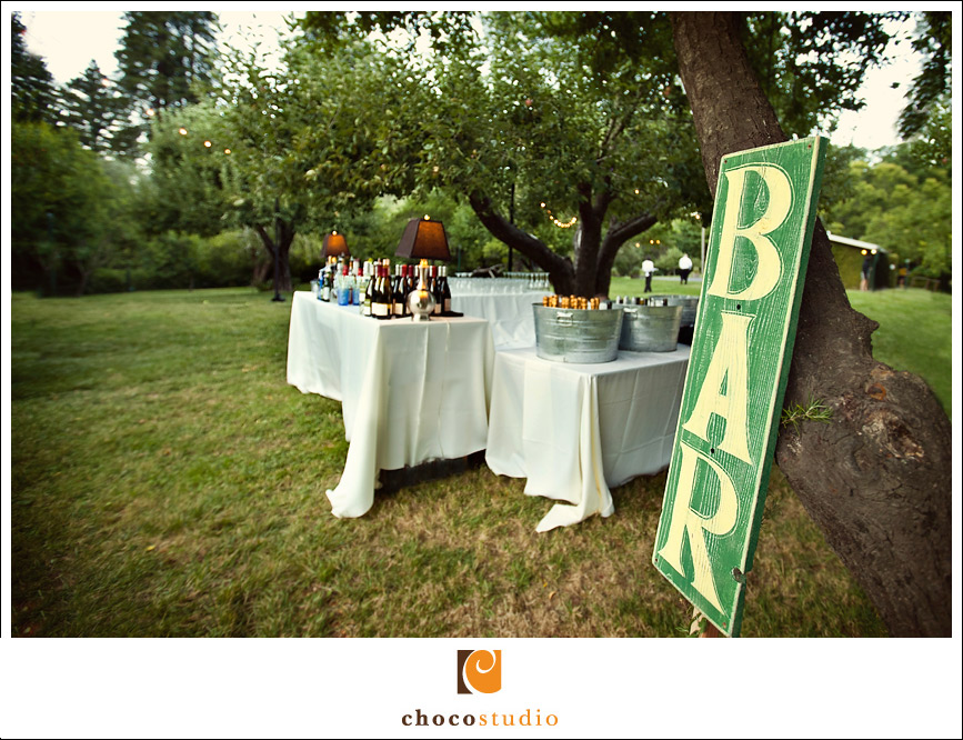 A bar for the outdoor wedding reception in the orchard at the Dawn Ranch Lodge