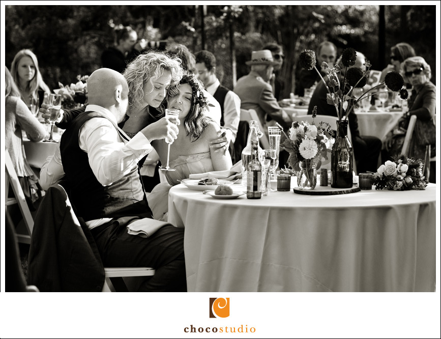 Black and white photo of an outdoor wedding reception