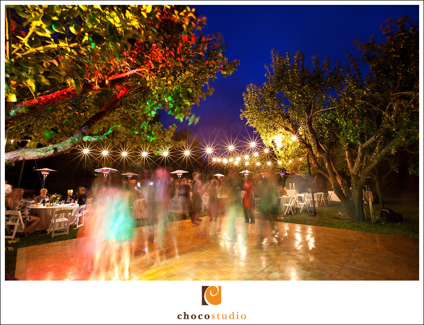 Slow exposure of the dance floor for an outdoor wedding reception