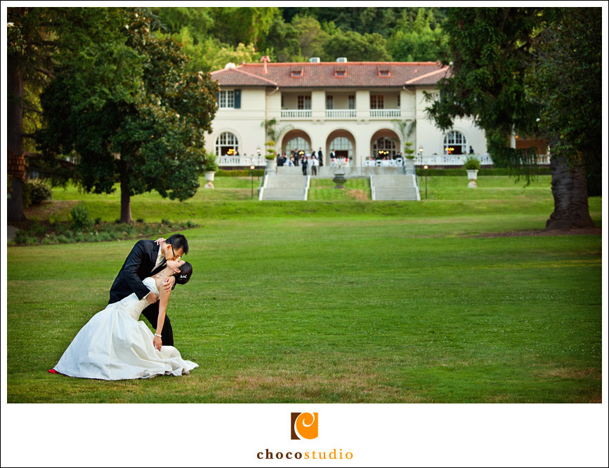 Bride and groom portrait on the lawn of Villa Montalvo