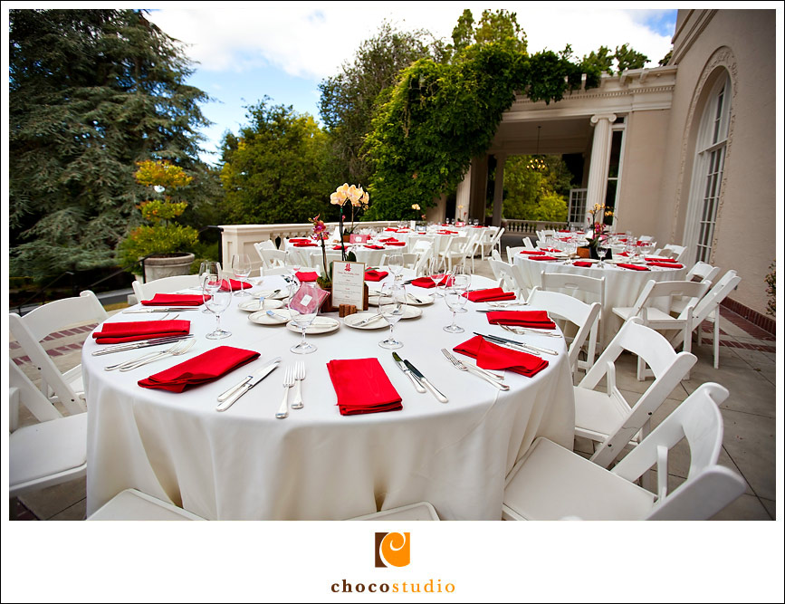 Wedding reception decor white and red