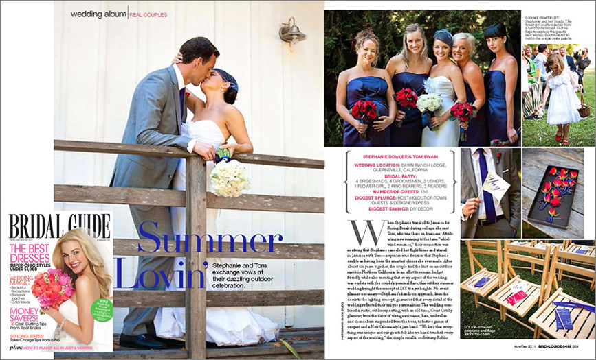 Outdoor wedding is featured in a bridal magazine