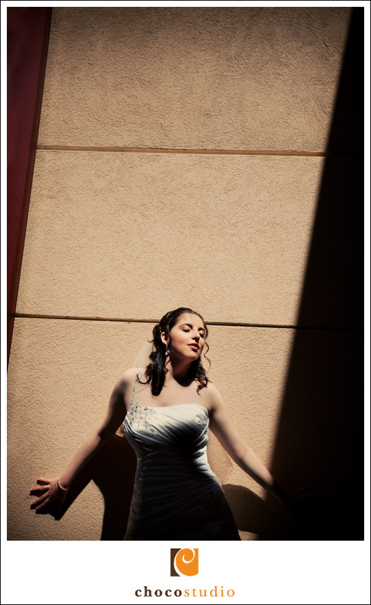 Bride posing outside of the Osher Marin Jewish Community Center