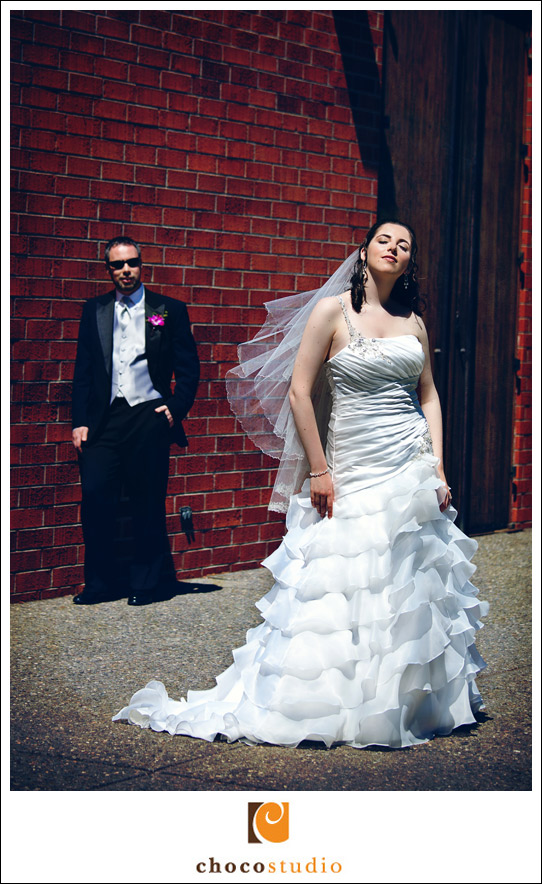 Bride and groom at a wedding at Jewish Community Center