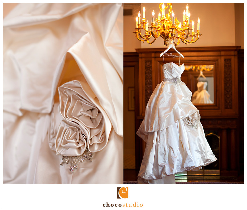 Wedding dress detail at Palace Hotel