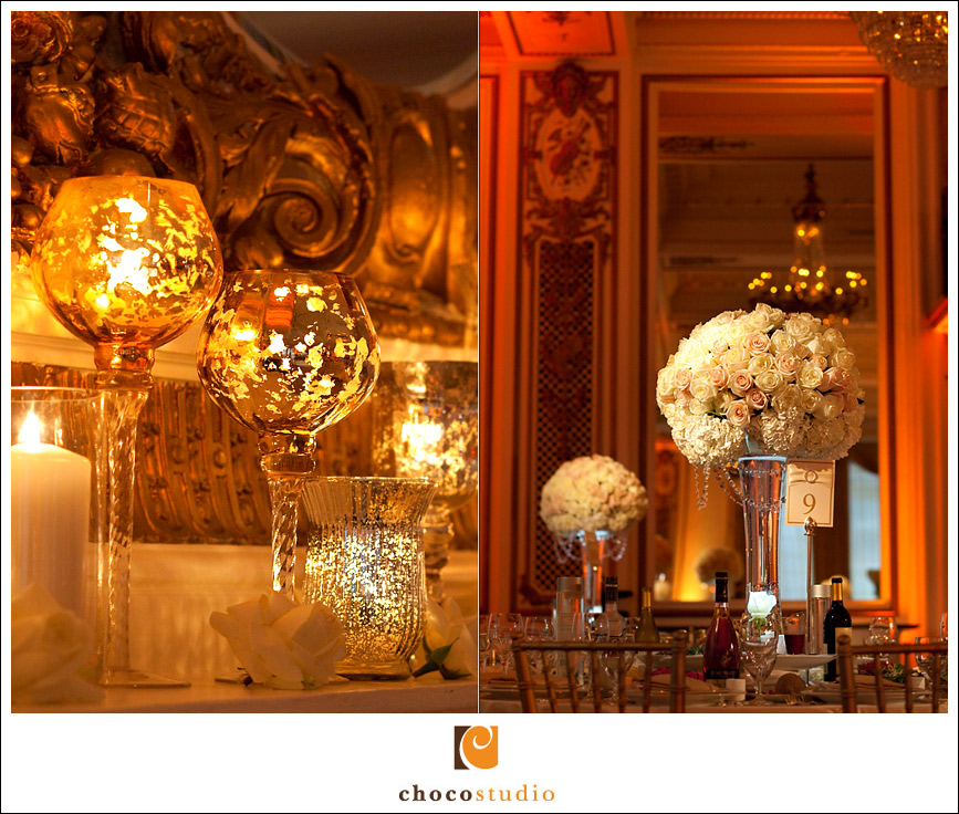 Palace Hotel wedding reception details candles and centerpieces