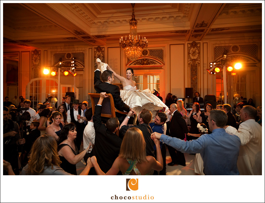 Fun hora dance in the ballroom of Palace Hotel