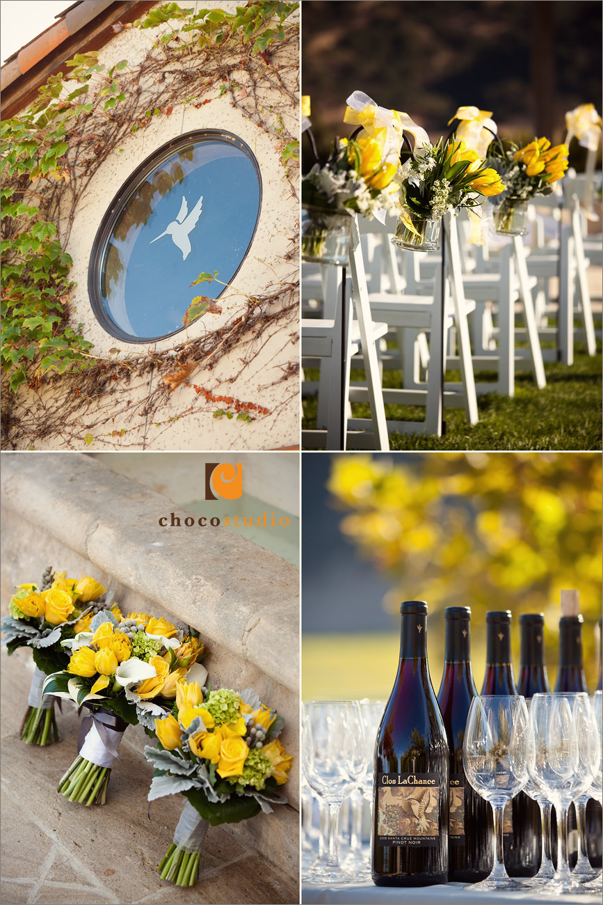 Ceremony details and wedding bouquet at Clos La Chance winery wedding