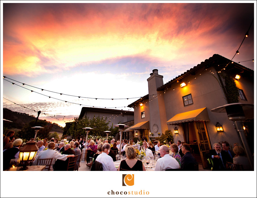 Sunset at wedding dinner on Grand Terrace of Clos La Chance