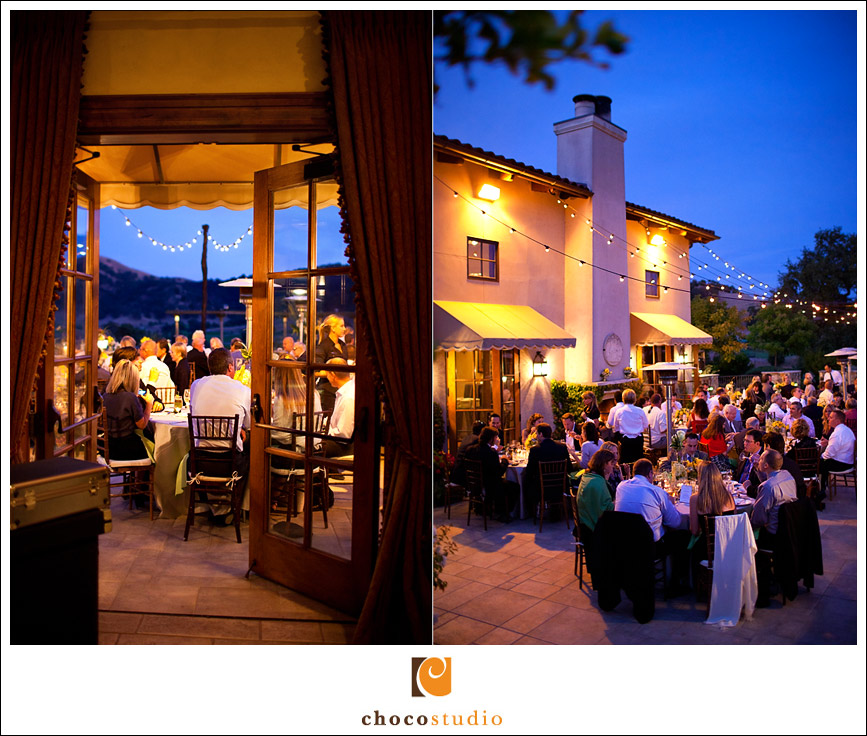 Twilight wedding dinner on Grand Terrace of Clos La Chance