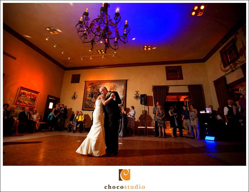 Father daughter dance in the Grand Salon of Clos La Chance winery