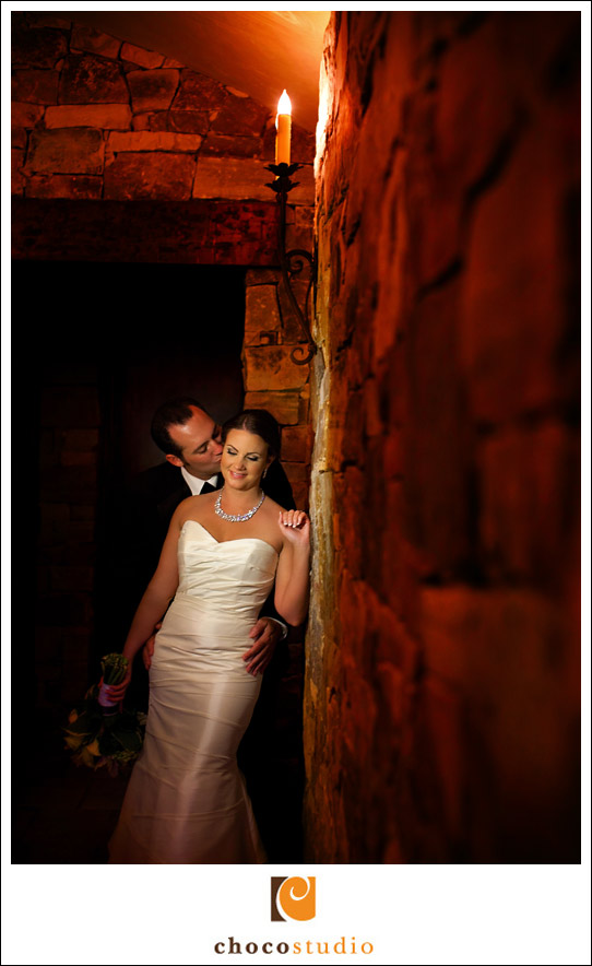 Bride and groom in the Cellar Room